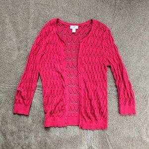 LOFT Hot Pink Lace Knit Cardigan
